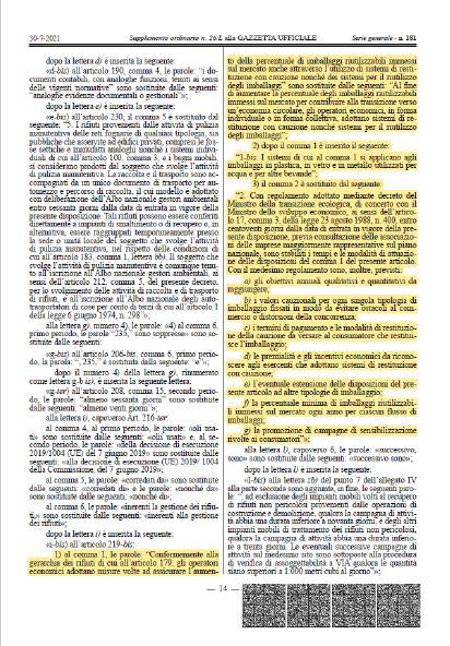 normativa italiana vuoto a rendere 2022 estratto dalla Gazzetta Ufficiale (scarica il PDF)